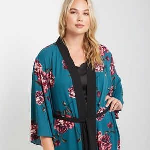 1X/2X/3X NEW PLUS SIZE Teal Floral Printed Kimo
